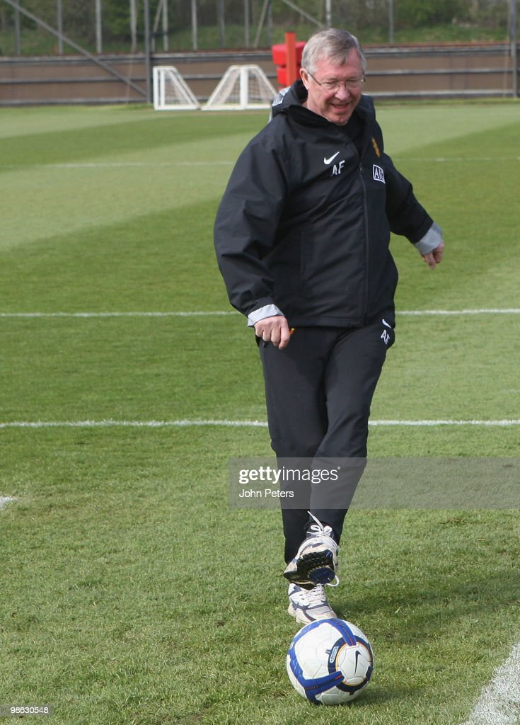 Sir Alex Ferguson of Manchester United in action during a First Team Training Session at Carrington Training Ground on April 23 2010 in Manchester, England.