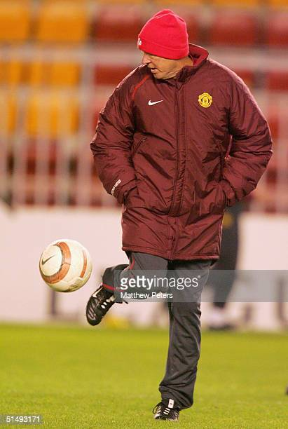 Sir Alex Ferguson of Manchester United in action on the ball during a training session ahead of the UEFA Champions League match between Sparta Prague...