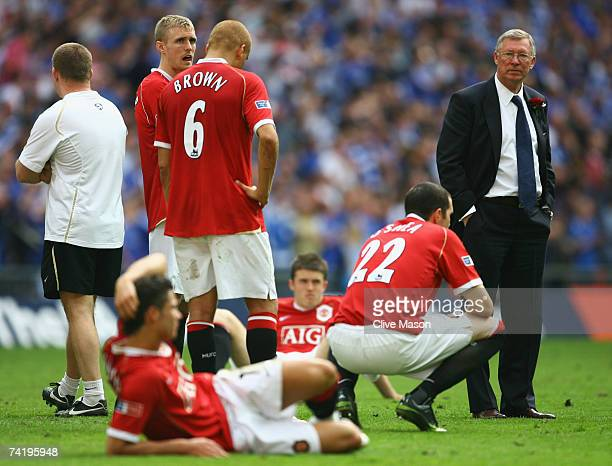 Sir Alex Ferguson of Manchester United looks dejected following defeat in the FA Cup Final match sponsored by E.ON between Manchester United and...