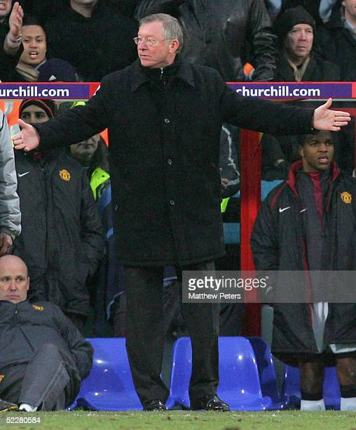 Sir Alex Ferguson of Manchester United looks disappointed during the Barclays Premiership match between Crystal Palace and Manchester United at...