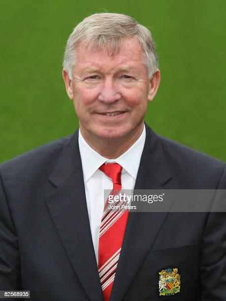 Sir Alex Ferguson of Manchester United poses during the club's official annual photocall at Old Trafford on August 27 2008 in Manchester England