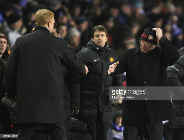 Sir Alex Ferguson of Manchester United shakes hands with Alex McLeish of Birmingham City after the FA Barclays Premier League match between...