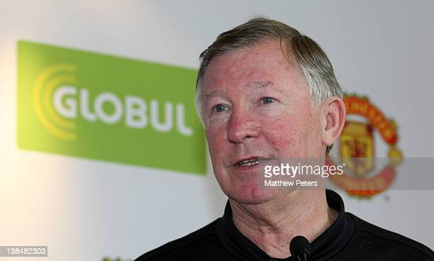Sir Alex Ferguson of Manchester United speaks at a press conference to announce Globul as new partners of Manchester United at Carrington Training...