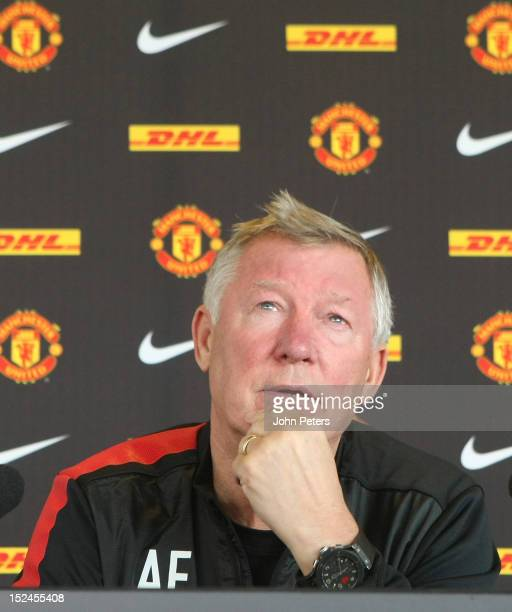 Sir Alex Ferguson of Manchester United speaks during a prematch press conference at Carrington Training Ground on September 21 2012 in Manchester...