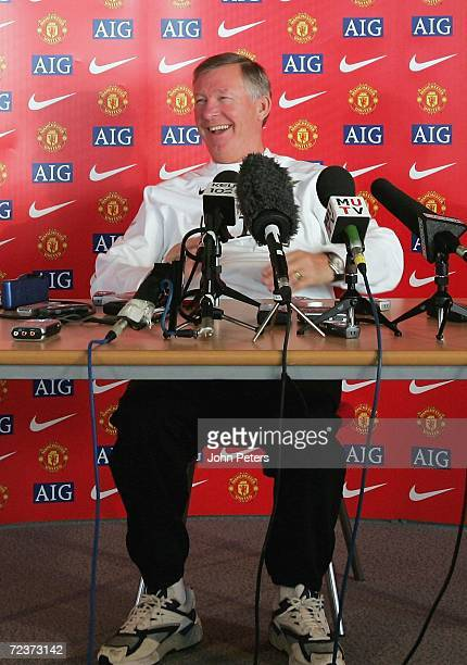Sir Alex Ferguson of Manchester United speaks during a pre-match press conference three days ahead of the twentieth anniversary of his arrival at...