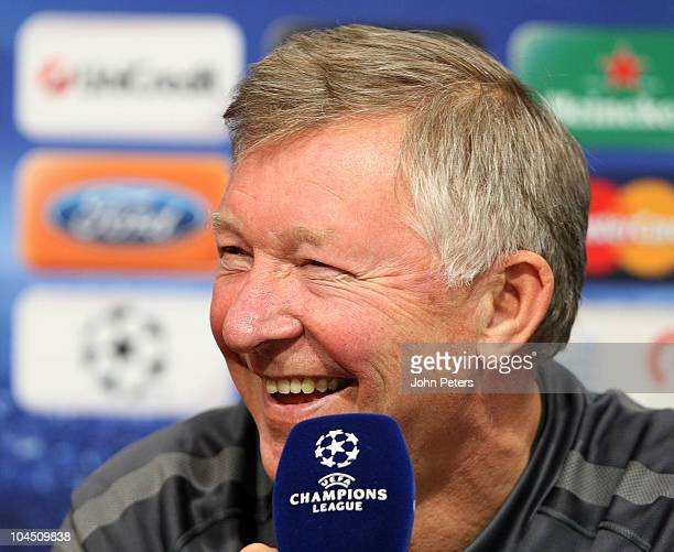 Sir Alex Ferguson of Manchester United speaks during a press conference ahead of their UEFA Champions League Group C match against Valencia at the...