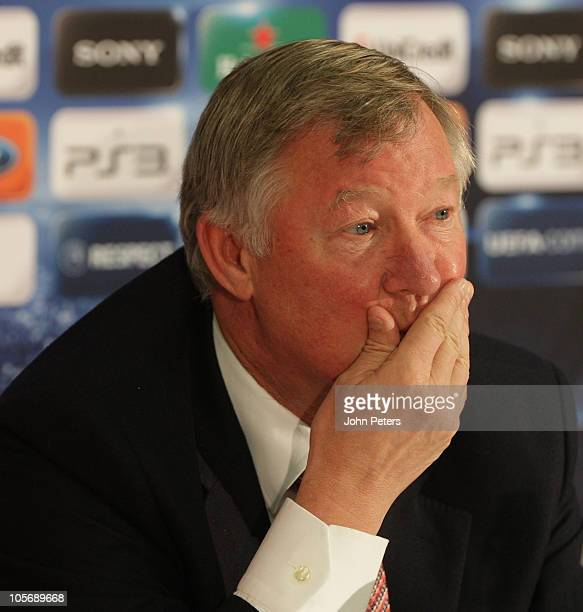 Sir Alex Ferguson of Manchester United speaks during a press conference, ahead of their UEFA Champions League match against Bursaspor, at Carrington...