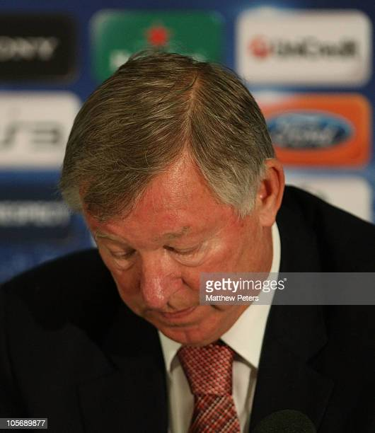 Sir Alex Ferguson of Manchester United speaks during a press conference ahead of their UEFA Champions League match against Bursaspor, at Carrington...