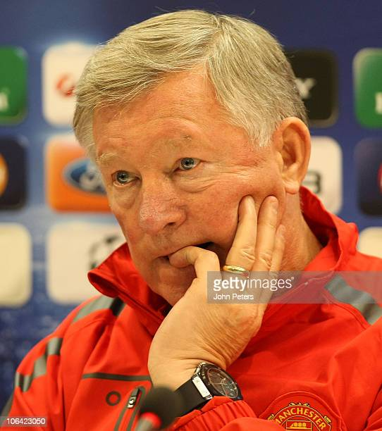 Sir Alex Ferguson of Manchester United speaks during a press conference, ahead of their UEFA Champions League Group C match against Bursaspor, on...