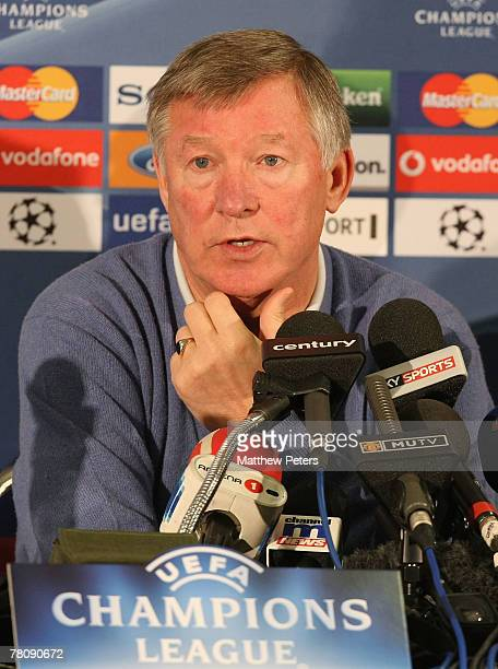 Sir Alex Ferguson of Manchester United speaks during a press conference at Old Trafford on November 26 2007 in Manchester England