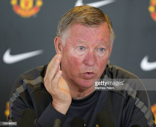 Sir Alex Ferguson of Manchester United speaks during a press conference at Carrington Training Ground on August 20 2010 in Manchester England
