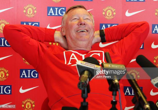 Sir Alex Ferguson of Manchester United speaks during a press conference at Carrington Training Ground on March 20 2009 in Manchester, England.