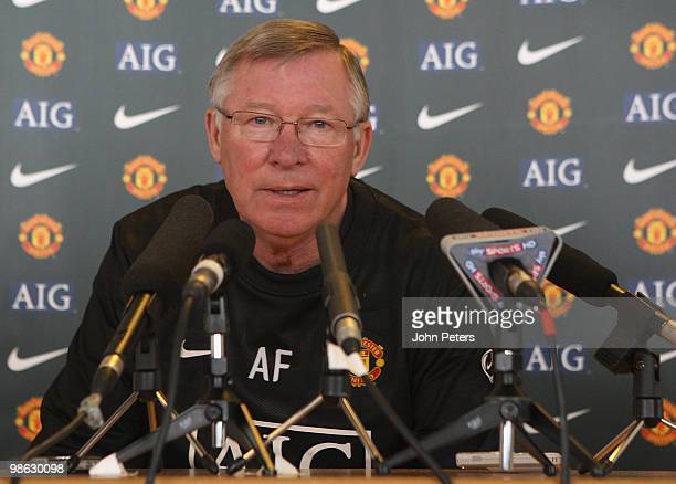 Sir Alex Ferguson of Manchester United speaks during a press conference at Carrington Training Ground on April 23 2010 in Manchester, England.