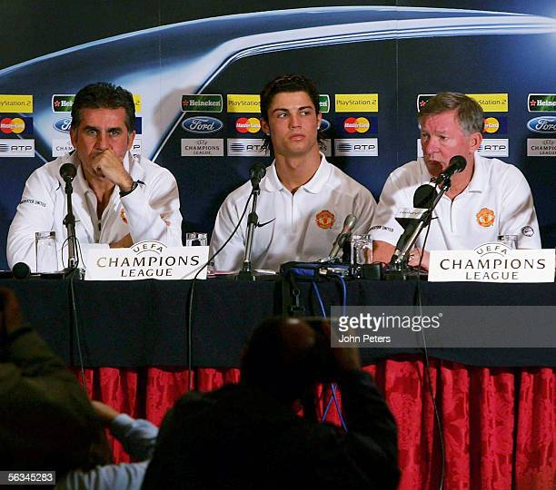 Sir Alex Ferguson of Manchester United speaks during the press conference at which Carlos Queiroz acted as interpreter ahead of the UEFA Champions...