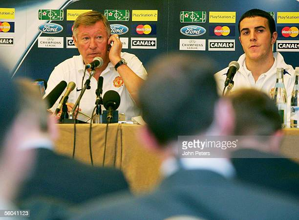 Sir Alex Ferguson of Manchester United talks during a press conference ahead of the UEFA Champions League match against Lille at the Stade de France...