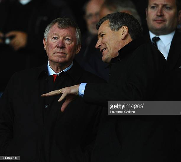 Sir Alex Ferguson of Manchester United talks with Chief Executive David Gill during the FA Youth Cup Final 2nd Leg match between Manchester United...