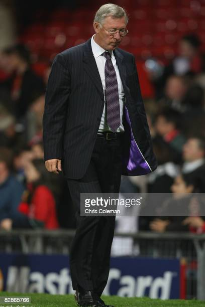 Sir Alex Ferguson of Manchester United walks off after the UEFA Champions League match between Manchester United and Villarreal at Old Trafford on...