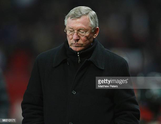Sir Alex Ferguson of Manchester United walks off after the UEFA Champions League QuarterFinal Second Leg match between Manchester United and Bayern...