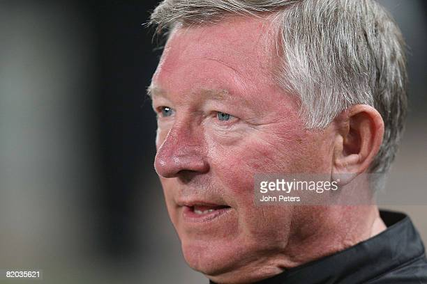 Sir Alex Ferguson of Manchester United watches from the bench during the Vodacom Challenge preseason friendly match between Orlando Pirates and...
