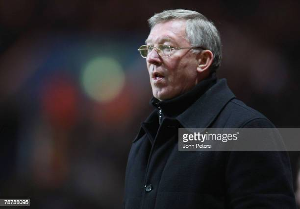 Sir Alex Ferguson of Manchester United watches from the touchline during the FA Cup sponsored by e.on Third Round match between Aston Villa and...