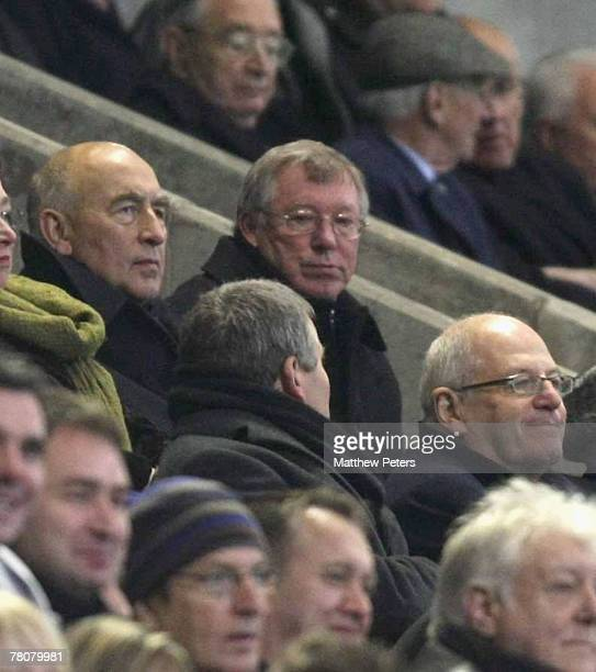 Sir Alex Ferguson of Manchester United watches the second half from the stand fater complaining to referee Mark Clattenburg during the Barclays FA...