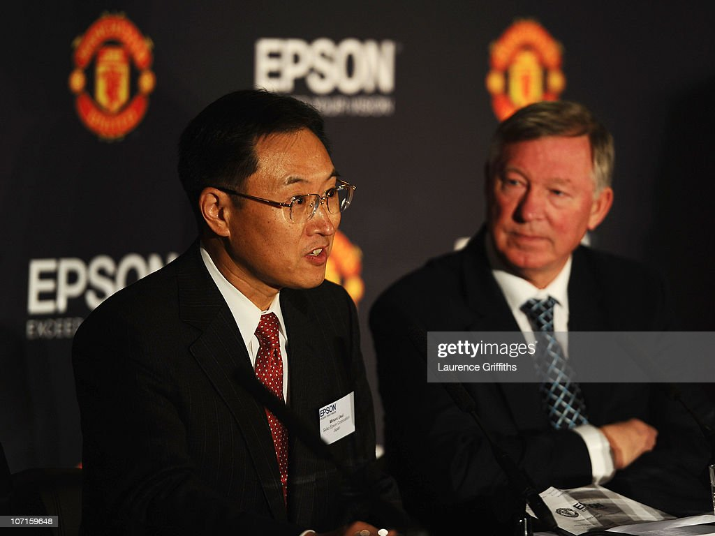 Sir Alex Ferguson of Manchester United with Epson Global President Mr Minoru Usui during a Press Conference as Manchester United launch a new sponsorship deal with Epson at Old Trafford on November 26, 2010 in Manchester, England.