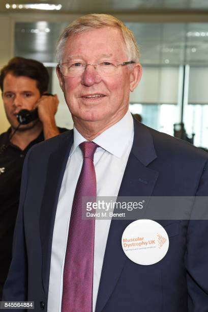 Sir Alex Ferguson representing Muscular Dystrophy UK makes a trade during BGC Charity Day on September 11 2017 in London United Kingdom