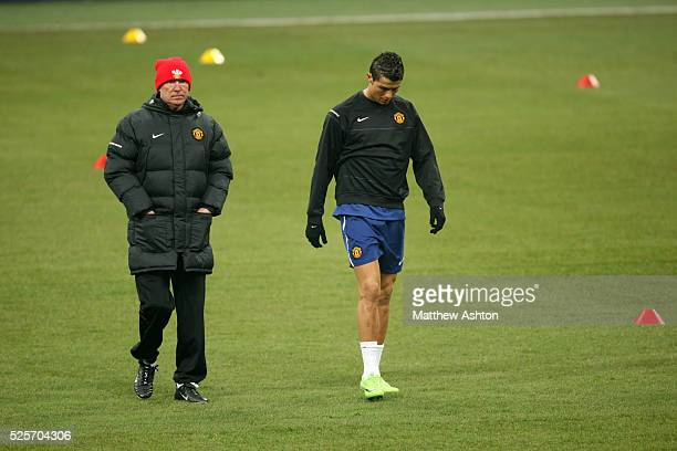 Sir Alex Ferguson the head coach / manager of Manchester United and Cristiano Ronaldo of Manchester United
