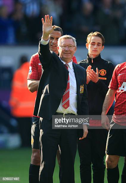 Sir Alex Ferguson the head coach / manager of Manchester United waves goodbye after his last game