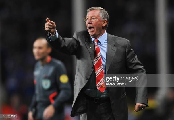 Sir Alex Ferguson the Manchester United manager directs his players during the UEFA Champions League Final match between Manchester United and...