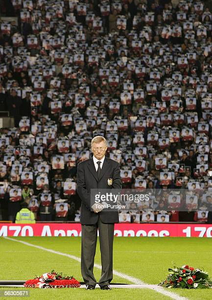 Sir Alex Ferguson the Manchester United Manager lays a wreath paying tribute to the late George Best ahead of the Carling Cup match between...