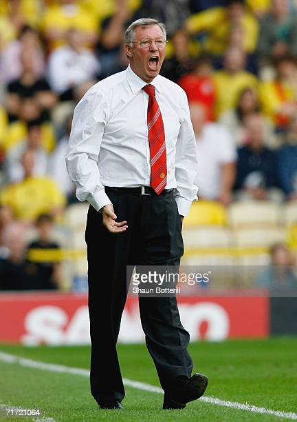Sir Alex Ferguson the Manchester United manager shouts instructions during the Barclays Premiership match between Watford and Manchester United at...