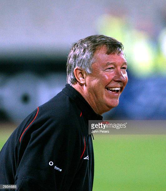 Sir Alex Ferguson training the night before the UEFA Champions League match between Bayern Munich v Manchester United match at the Olympiastadion...