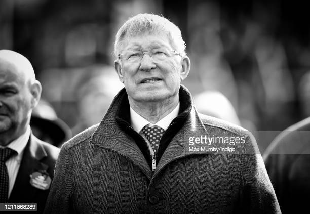Sir Alex Ferguson watches his horse 'Protektorat' run in the Coral Cup Handicap Hurdle race on day 2 'Ladies Day' of the Cheltenham Festival 2020 at...