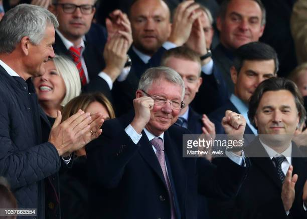 Sir Alex Ferguson waves to fans prior to the Premier League match between Manchester United and Wolverhampton Wanderers at Old Trafford on September...