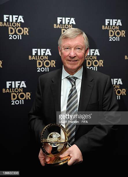 Sir Alex Ferguson with his trophy after winning the FIFA Presidential Award at the FIFA Ballon d'Or Gala 2011 at the Kongresshaus on January 09 2012...