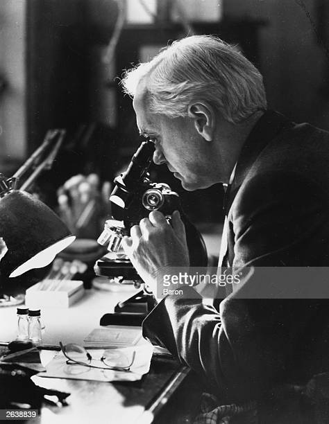 Sir Alexander Fleming discoverer of Penicillin looking through a microscope