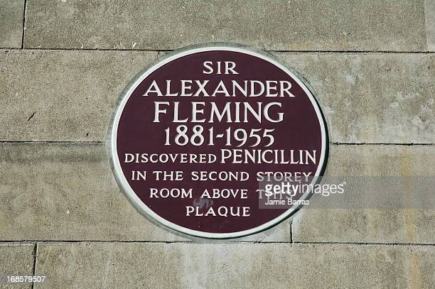Sir Alexander Fleming plaque, St Mary's Hospital, Praed Street, Paddington W2, London. Fleming was awarded the Nobel Prize for Physiology or Medicine...