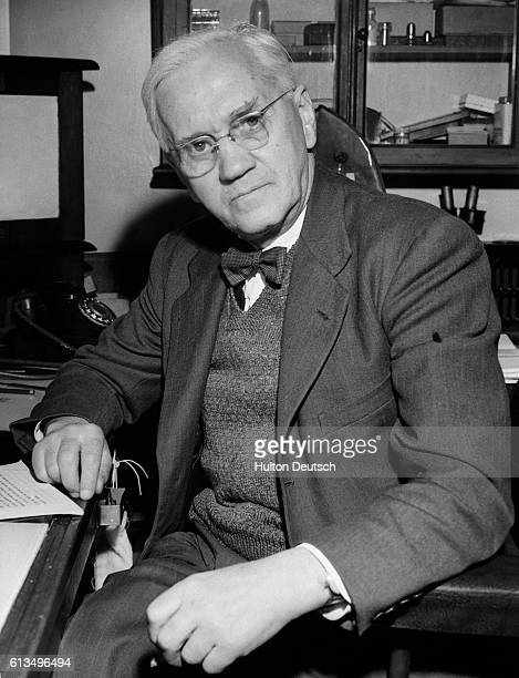 Sir Alexander Fleming the Scottish bacteriologist who discovered penicillin seen before he left for Greece to represent the Council of International...