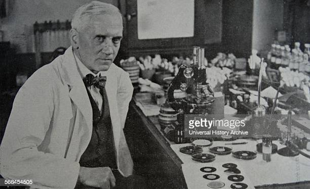 Sir Alexander Fleming who discovered penicillin at work in his laboratory in St Mary's Hospital Paddington London