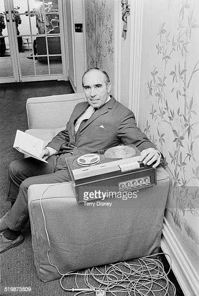 Sir Alf Ramsey taking Spanish lessons in preparation for the upcoming FIFA World Cup to be held in Mexico 1969
