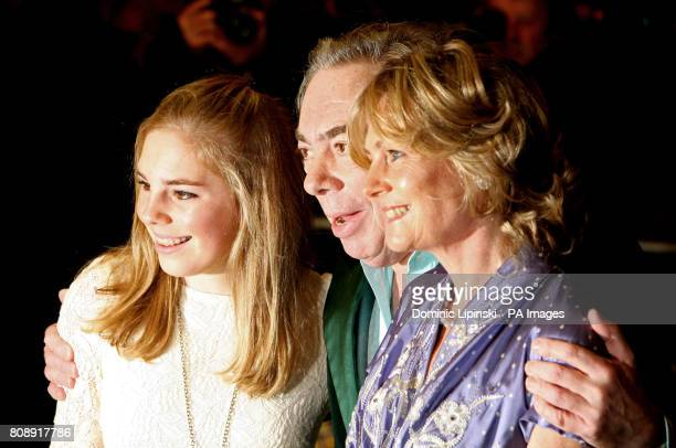 Sir Andrew Lloyd Webber and his wife Madeleine and daughter Isabella arrive at a press event for 'The Wizard of Oz' at the London Palladium in...