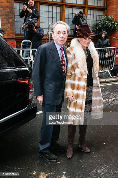 Sir Andrew Lloyd Webber and Madeleine Gurdon attends the wedding of Jerry Hall and Rupert Murdonch at St Brides Church on March 5 2016 in London...