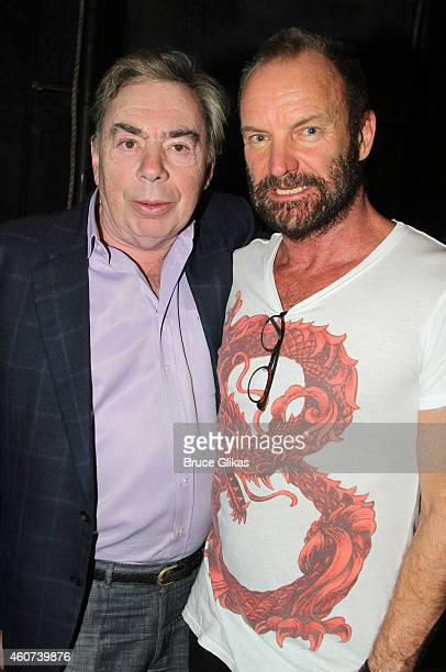 Sir Andrew Lloyd Webber and Sting pose backstage at the hit musical The Last Ship on Broadway at The Neil Simon Theater on December 20 2014 in New...