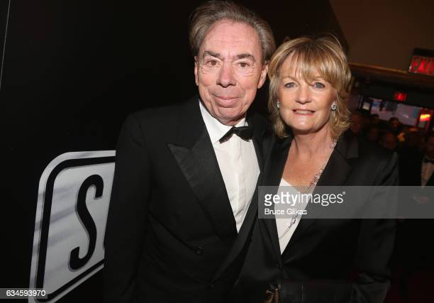 Sir Andrew Lloyd Webber and wife Madeline Lloyd Webber pose at the Opening Night of Sunset Boulevardon Broadway at The Palace Theatre on February 9...