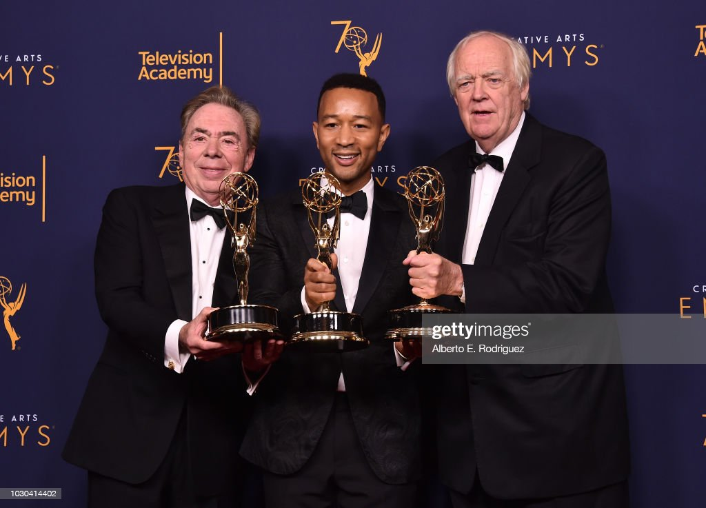 Sir Andrew Lloyd Webber, John Legend and Tim Price pose in the press room during the 2018 Creative Arts Emmys at Microsoft Theater on September 9, 2018 in Los Angeles, California.