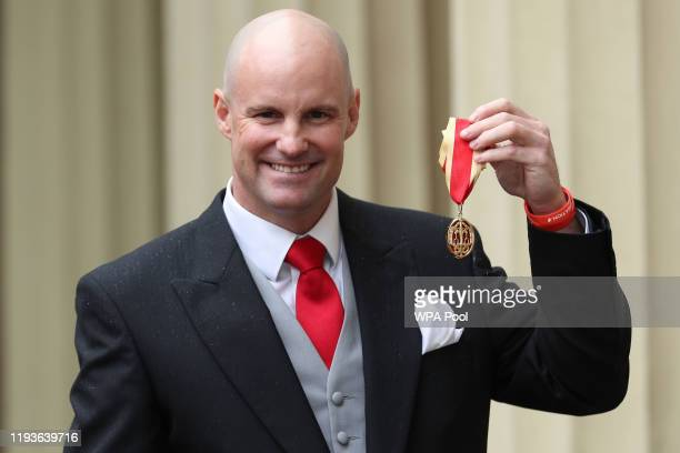 Sir Andrew Strauss following an investiture ceremony at Buckingham Palace on January 14, 2020 in London, United Kingdom.