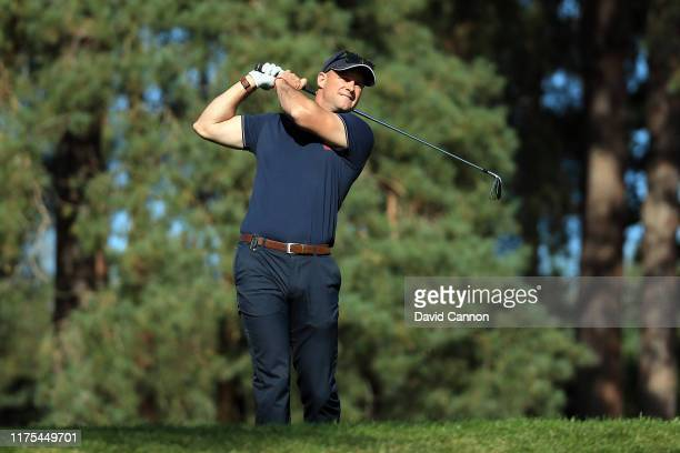 Sir Andrew Strauss plays a shot during the BMW PGA Championship ProAm at Wentworth Golf Club on September 18 2019 in Virginia Water United Kingdom