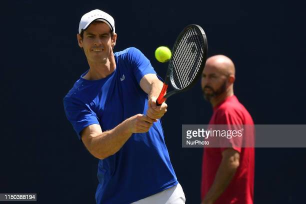 Sir Andy Murray of Great Britain is seen in action during his training Session, on day one of Fever Tree Championships at Queens Club, London on June...
