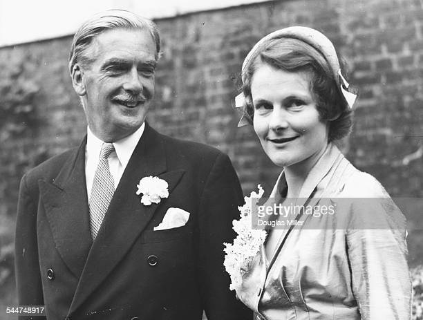 Sir Anthony Eden and Lady Eden pictured on their wedding day on August 14th 1952 Printed during the illness of Lord Avon on January 10th 1977